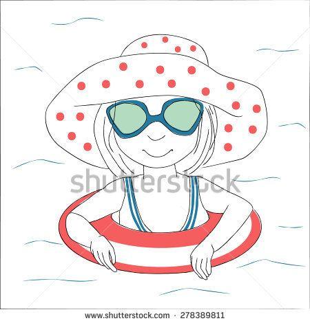 Cute little girl swims