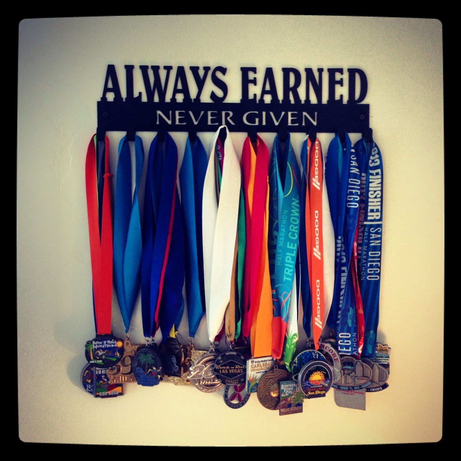 Always Earned Never Given Race Medal Display Health Fitness