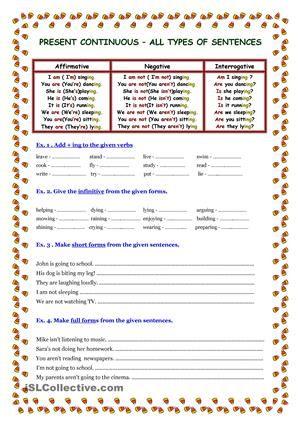 present continuous 3 pages teaching grammer worksheets grammar worksheets types of sentences. Black Bedroom Furniture Sets. Home Design Ideas
