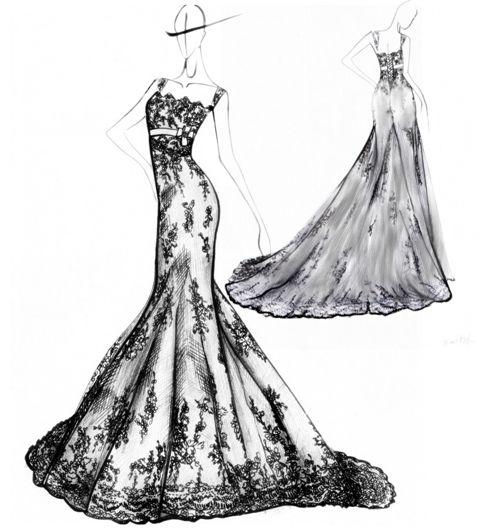 Wedding-dress-design-mermiad-style-wide-straps-lace-sketch