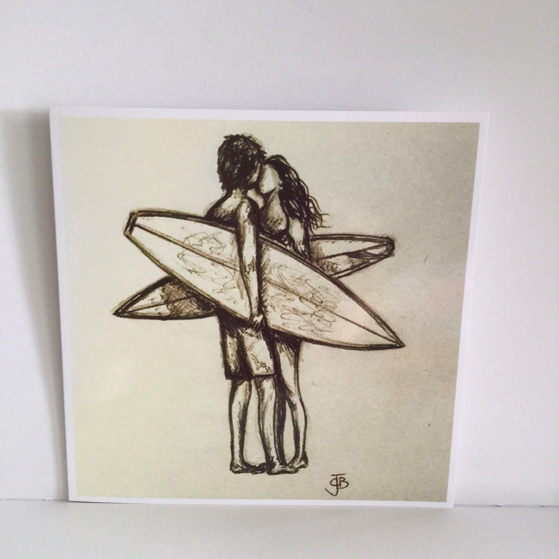 Retro biro sketch surfers kissing love artwork square blank greetings card surfart surfing surfer surf girl valentines (SP3) #surfgirls