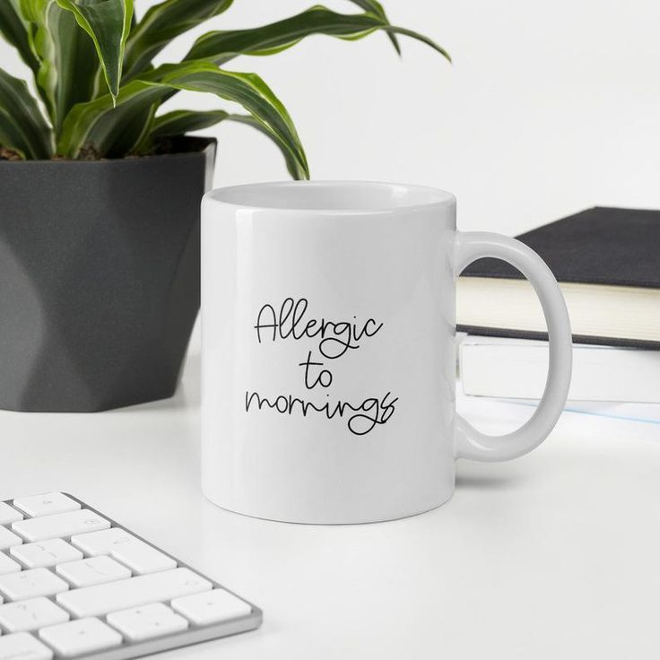 Allergic to mornings mug, funny coffee cup, humor drink, not a morning person, morning