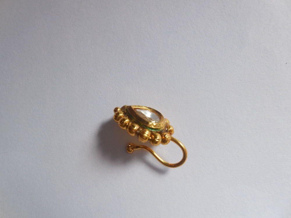Non Piercing Gold Plated Kundan Nose Clip er Hoop Cuff Pin