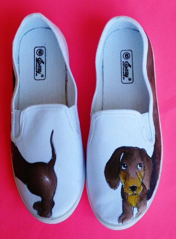 Dachshund Canvas Shoes Slip On Vans Hand Painted Dog