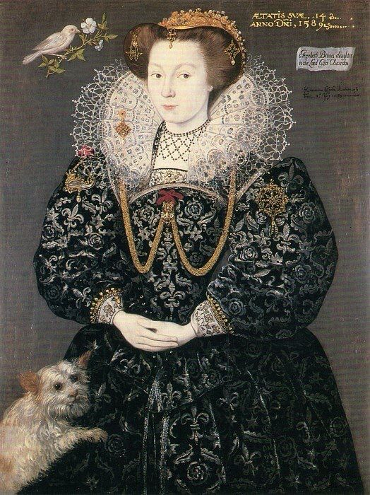 A portrait of Elizabeth Brydges (and her dog), a maid of honor of Queen Elizabeth I. By Hieronimo, circa 1589. Woburn Abbey.