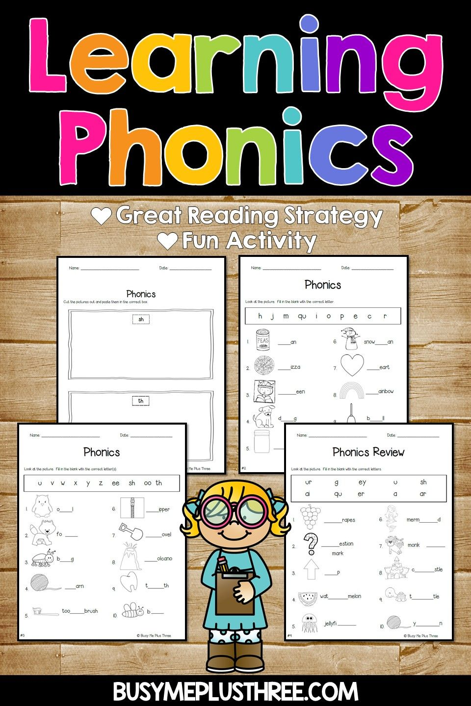 Phonics Worksheet Pack, PHONOGRAMS, Kindergarten & First