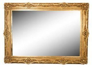 Gilded Large Wall Mirror --  Oversized French gold gilded giltwood frame Baroque Carved mirror. Can be hung or leaned against a wall.