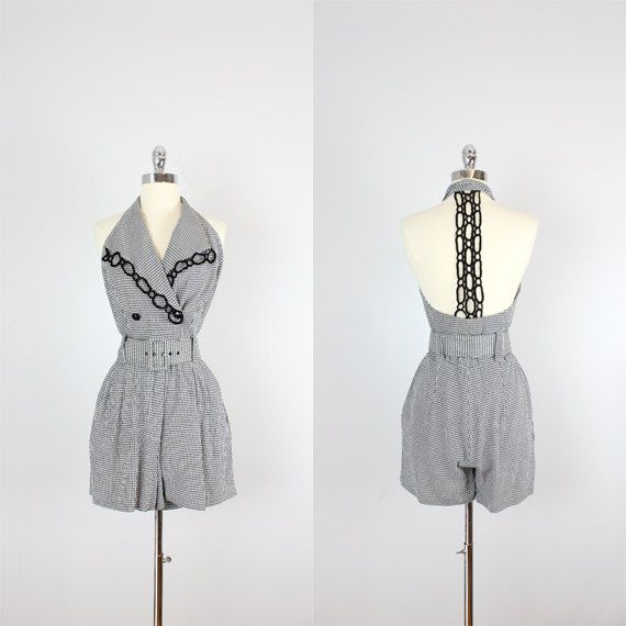 vintage 80s romper / 1980s gingham check by archetypevintage