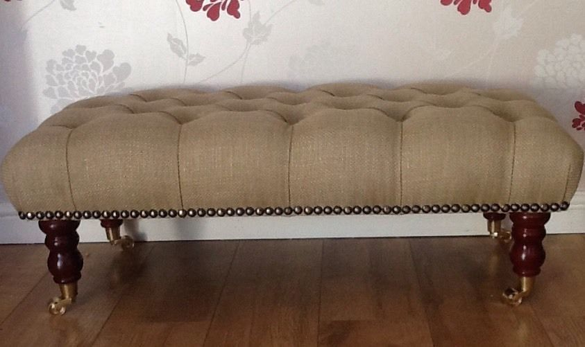 A Quality Long Deep Buttoned Footstool In Laura Ashley Dalton Gold Fabric