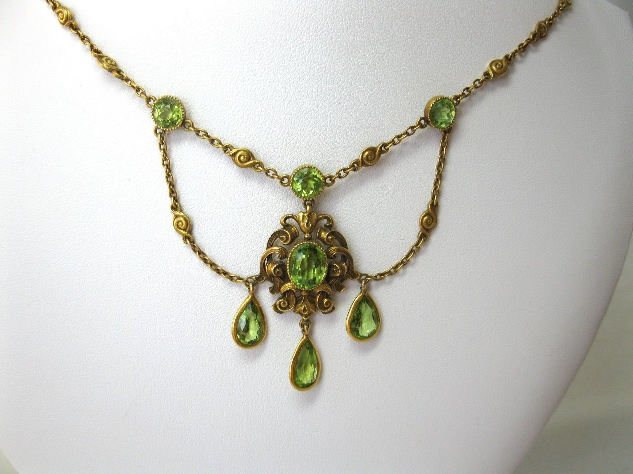 Peridot Art Nouveau Engament Wedding Jewelry Necklace Victorian 14k Gold C1910 | eBay