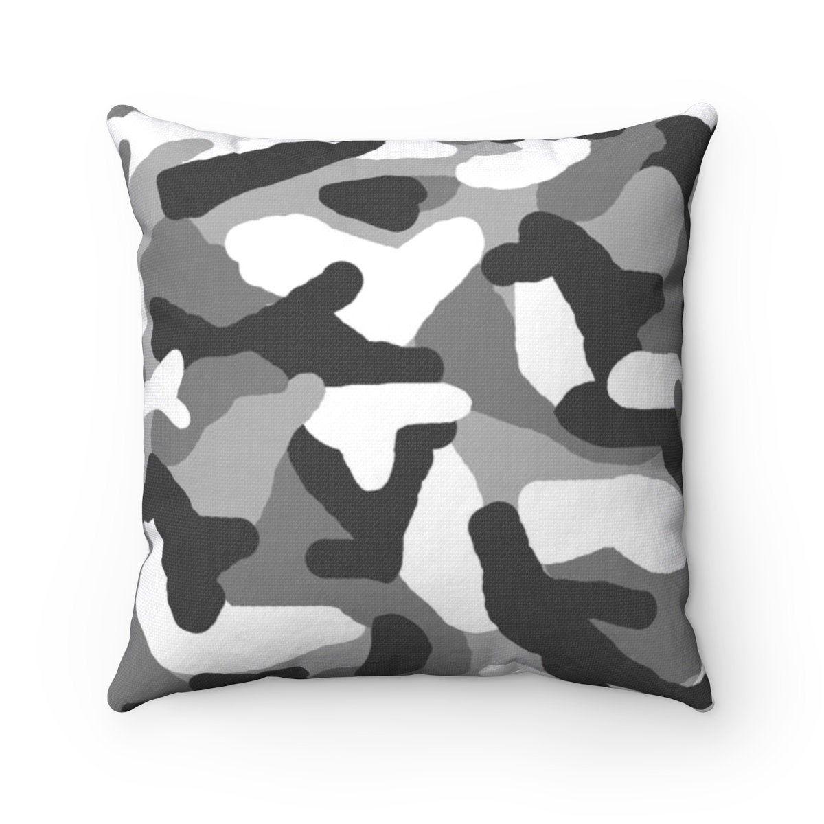 Gray Camo Pillow Spun Polyester Grey Camouflage Square Throw Etsy Pillows Accent Pillows Diy Farmhouse Sofa