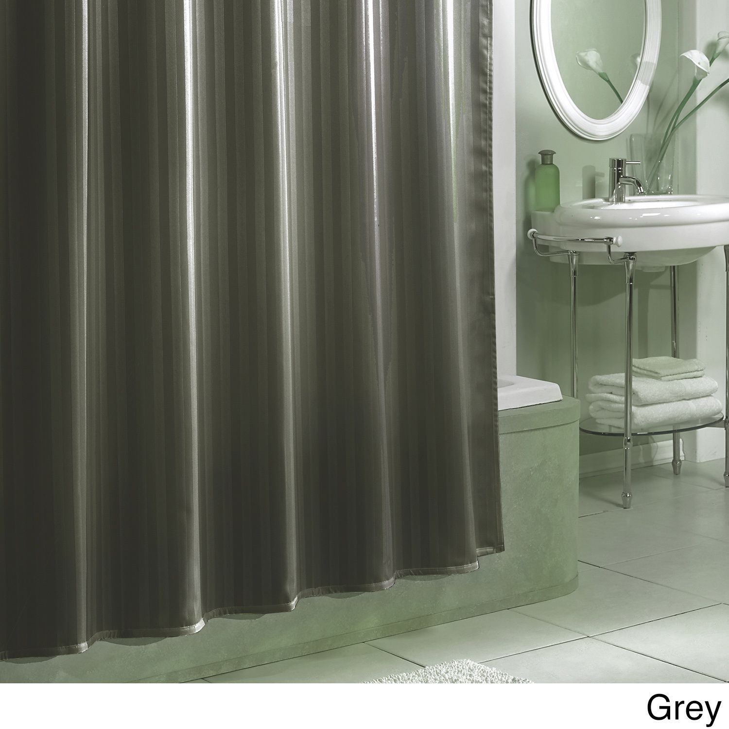 Excell Damask Stripe Fabric Shower Curtain Liner Champagne