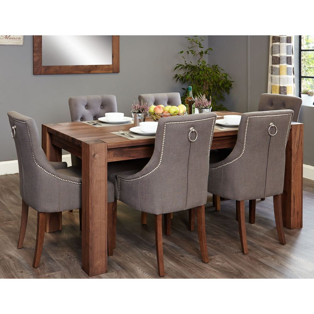 Shiro solid dark wood furniture large dining table and six luxury ...