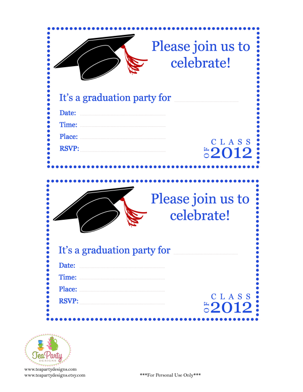 Free Print Graduation Announcements Template Invitation Templates