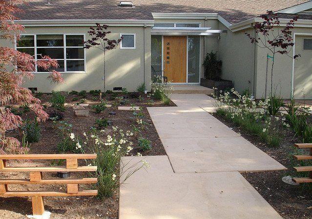 Front Sidewalk Designs For A Ranch House Google Search Modern Landscaping Concrete Walkway Modern Landscape Design