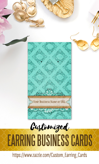 Vintage Teal Turquoise Blue Custom Earring Business Cards That You Can Personalize With Your Jewelry Name And Website Make Own Professional