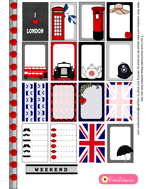 Free Printable London Stickers for Happy Planner Page 1 | Happy ...
