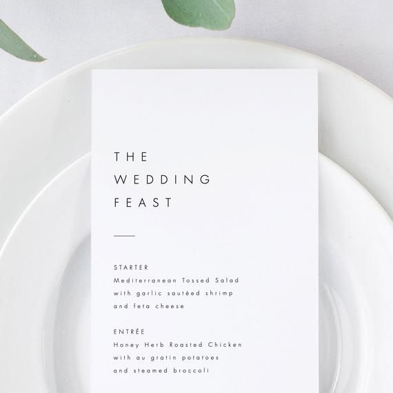 Minimalist Menu Template Download Modern Wedding Menu Simple Menu Cards Editable Menu Simple wedding DIY menu 21