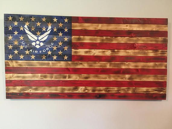 Wooden American Flag W Air Force Logo Hand Carved Flag Wood