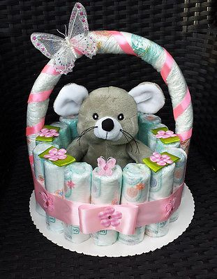 windeltorte korb rosa geburt taufe geschenk f r m dchen baby party pampers baby gift. Black Bedroom Furniture Sets. Home Design Ideas