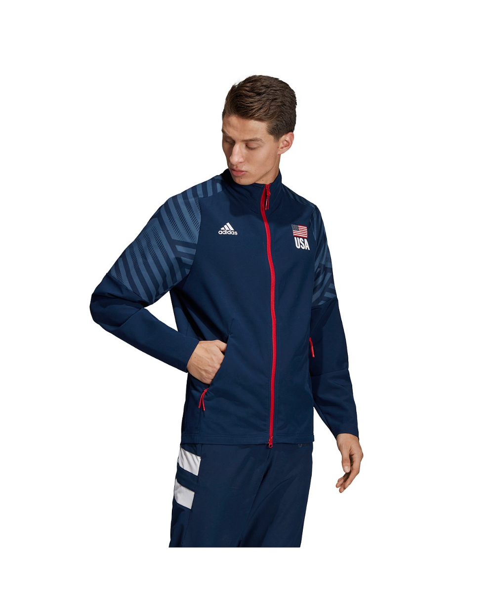 Adidas Men S Usa Volleyball Warm Up Jacket Reviews Coats Jackets Men Macy S In 2020 Jackets Volleyball Jacket Adidas Men