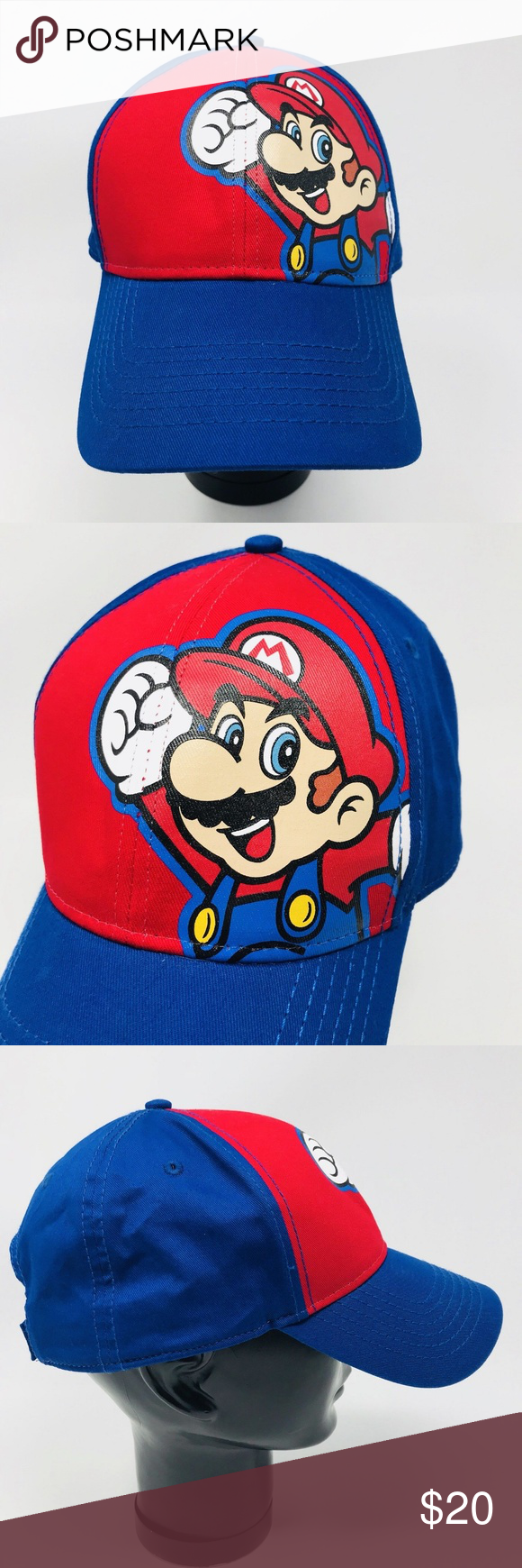 Super Mario Youth Baseball Hat Osfm Youth Baseball Hat Super Mario One Size Fits Most Hook And Loop Adjustable C Fashion Design Accessories Hats Clothes Design