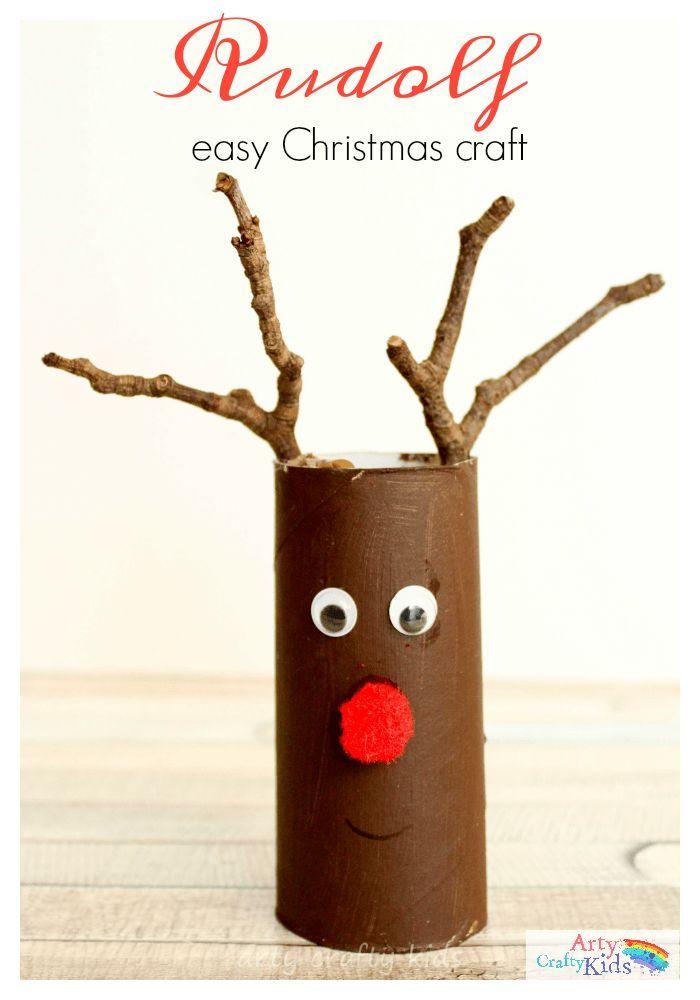 Einfache Papierrolle Rudolph Christmas Craft