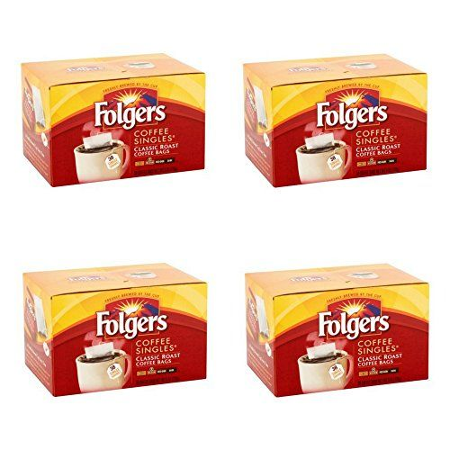 Folgers Coffee Singles Classic Roast Bags 38 Count 6 Oz Pack Of 4