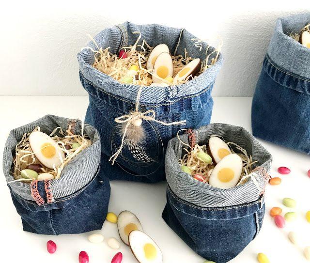 Photo of Der Osterkorb aus Jeans, der aus einem Hosenbein näht, wird zu einem großartigen …