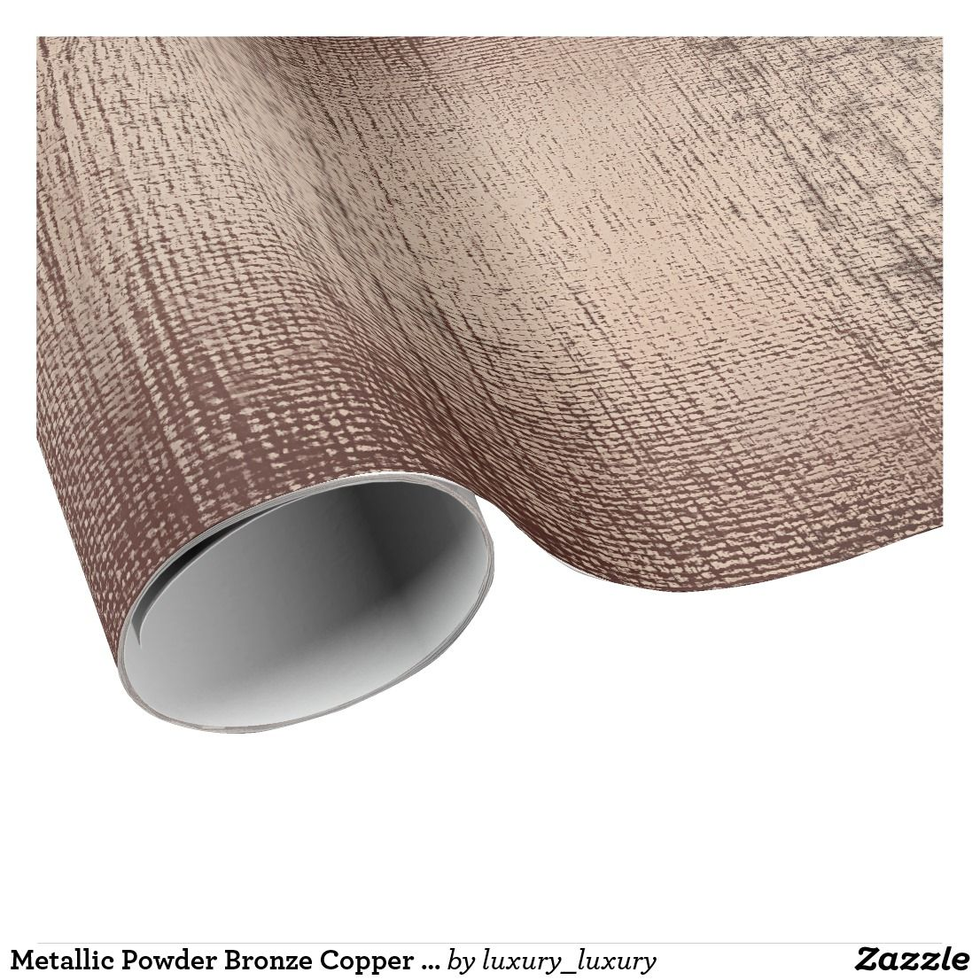 Metallic Powder Bronze Copper Rose Gold Linen Burl Wrapping Paper