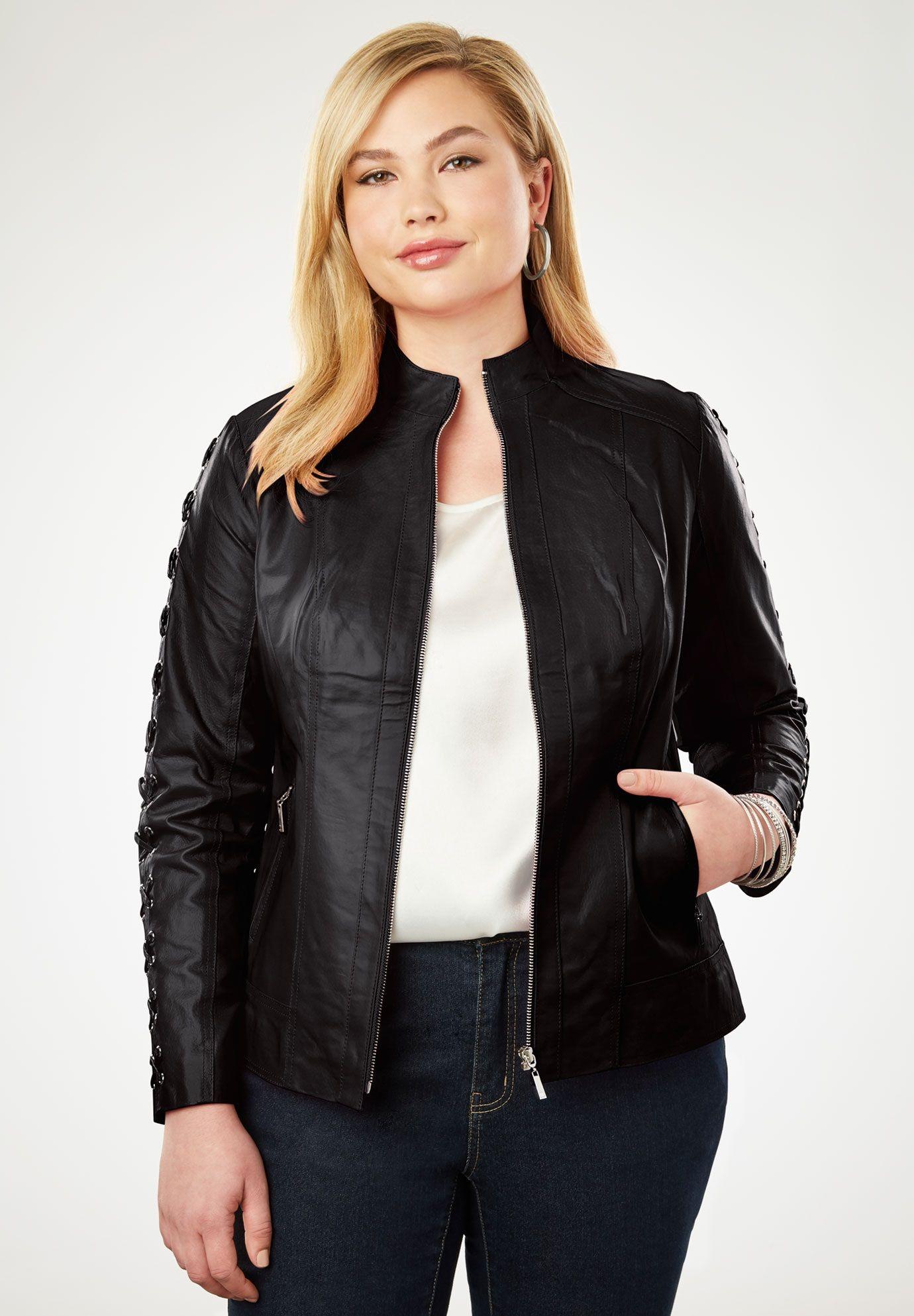 Lace Up Leather Jacket, BLACK Plus size leather jacket