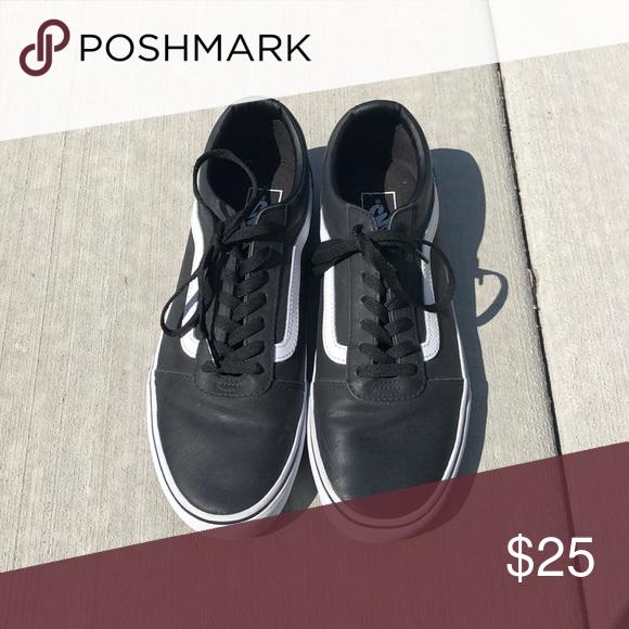 602559ed148c92 Leather vans Black leather vans old skool shoes! Size 10 in men s Vans  Shoes Sneakers