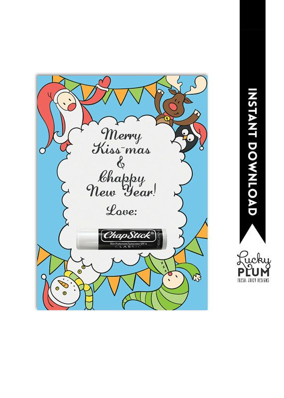 chapstick christmas card teacher thank you card christmas gift