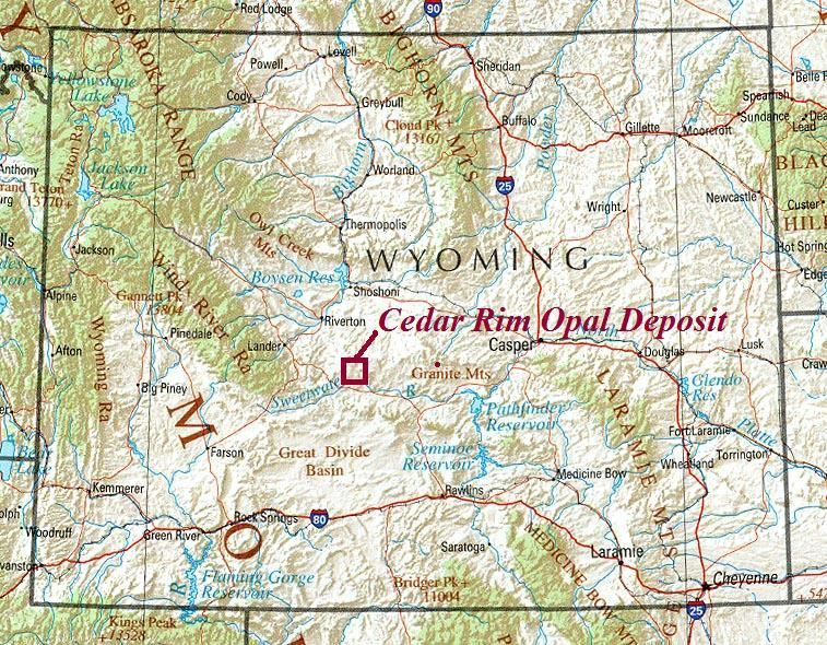 Location Map Of The Cedar Rim Opal Field Central Wyoming Via The