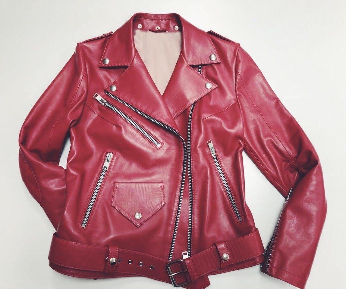 Women's leather biker jacket. Size M. Price 550