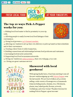 Pick a Pepper newsletter