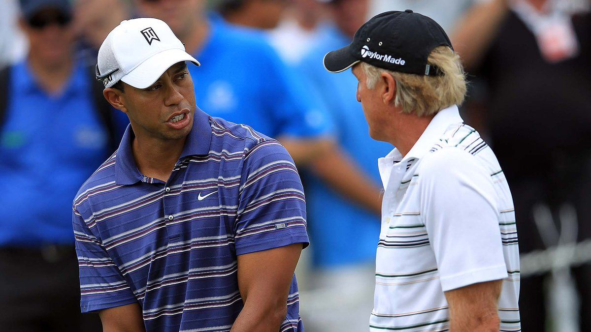 After His Win At This Year S Masters Greg Norman Wrote Tiger A Congratulatory N Greg Norman Norman Men Casual