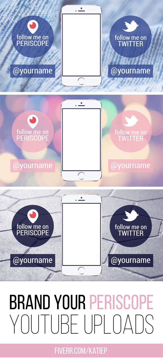 Brand your Periscope Youtube Uploads with your Periscope name and Twitter name. 8 Designs to choose from or have a custom made one with your colours and font. >> https://www.fiverr.com/katiep/create-a-youtube-background-for-periscope-periscope