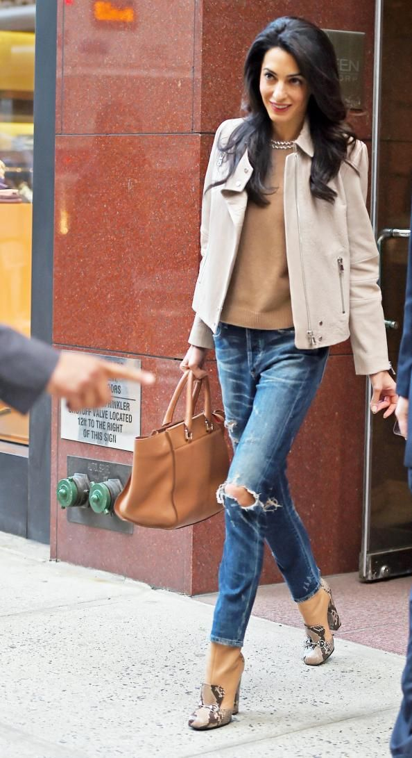 Amal Clooney Wears Distressed Denim and Leather