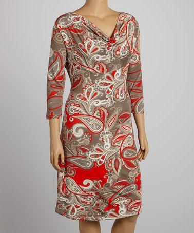Red & Cream Paisley Drape Neck Dress - Plus by Reborn Collection #zulily #zulilyfinds