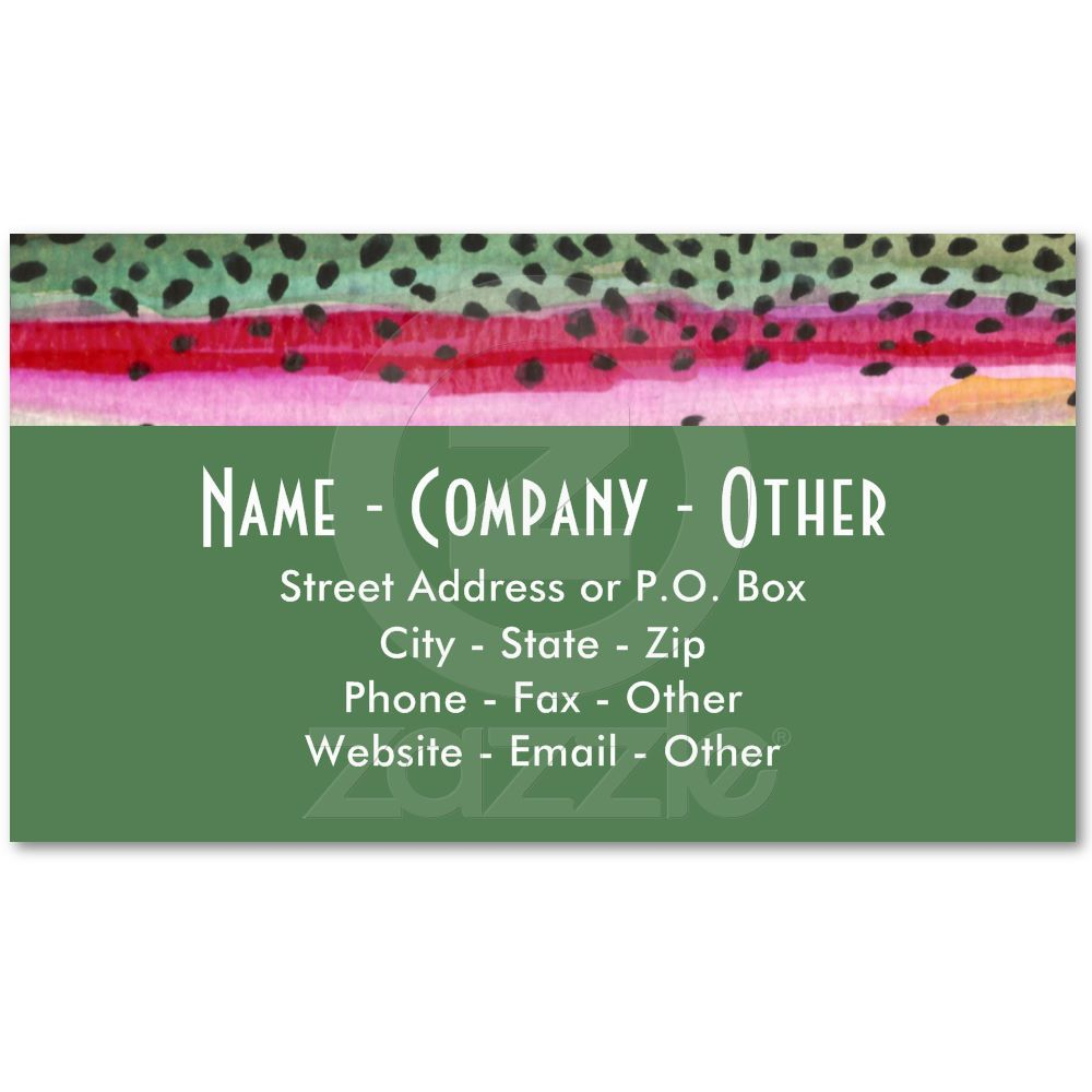 Rainbow Trout Fishing Business Card Templates from Zazzle.com ...