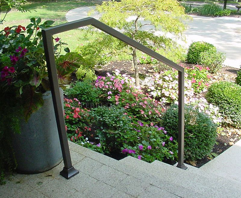 "Exterior Wrought Iron Handrail, Modern Design, 1.5"" Tubing"