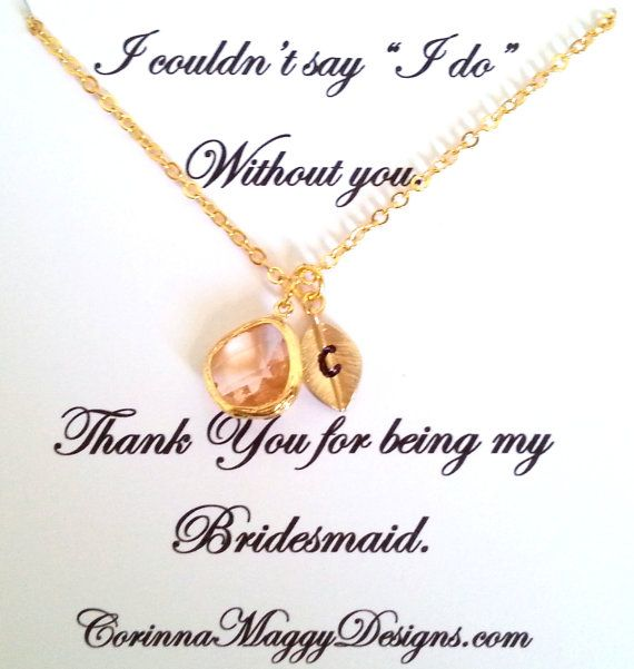 Initial Necklace With Accent Stone Wedding Gift Bridal Party