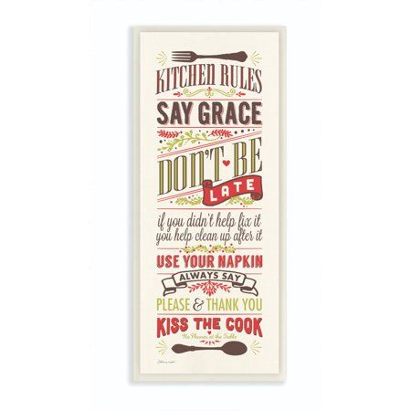 Stupell Industries Kitchen Rules Inspirational Word Dining Room Red Green Design Wall Plaque Art by Stephanie Workman Marrott - Walmart.com #kitchenrules