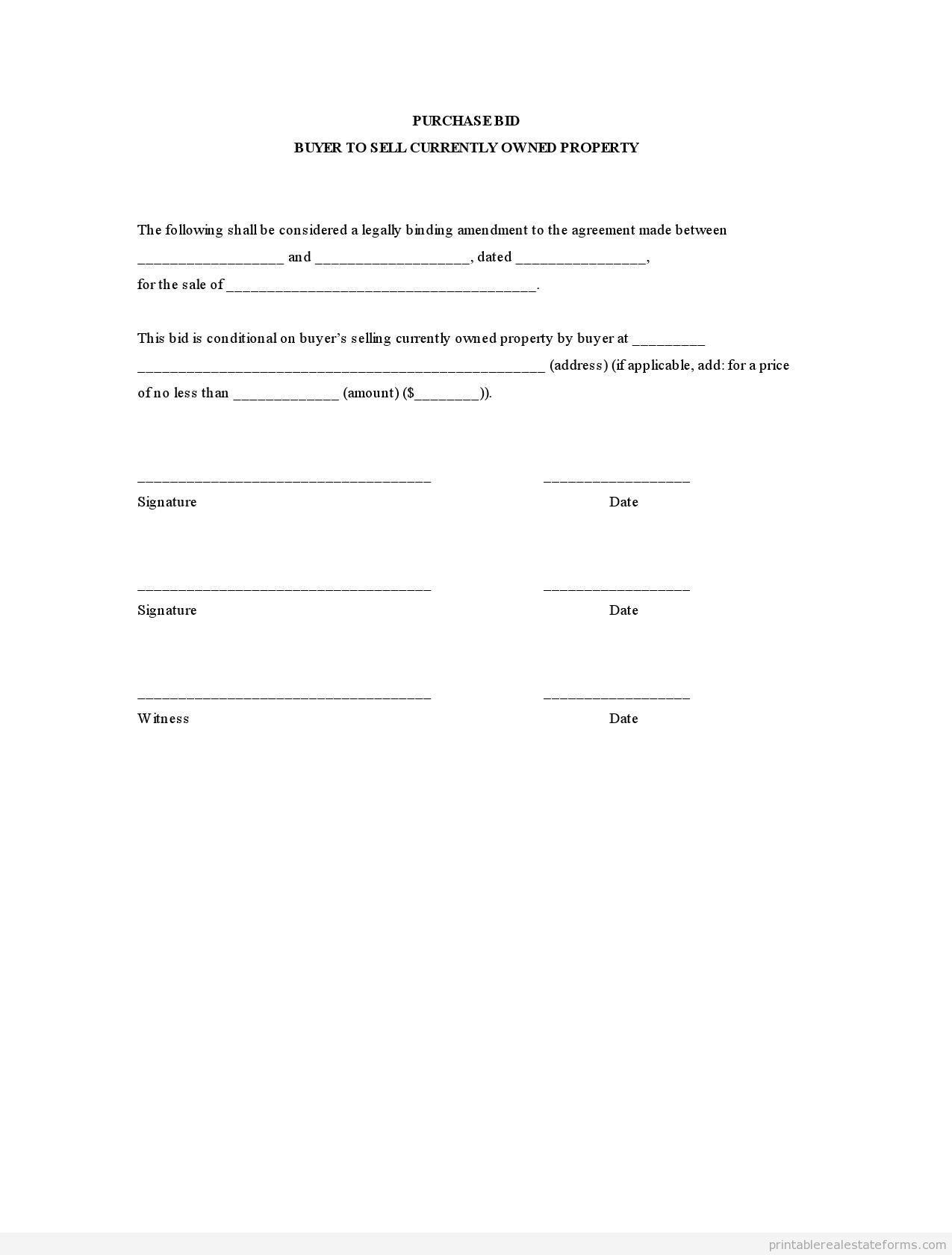 Printable purchase bid buyer to sell currently owned property – Agreement to Purchase Real Estate Form Free