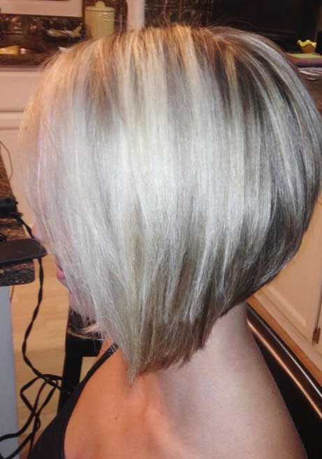 Blonde Layered Angled Bob Hairstyles Bobs Cabello Corte De