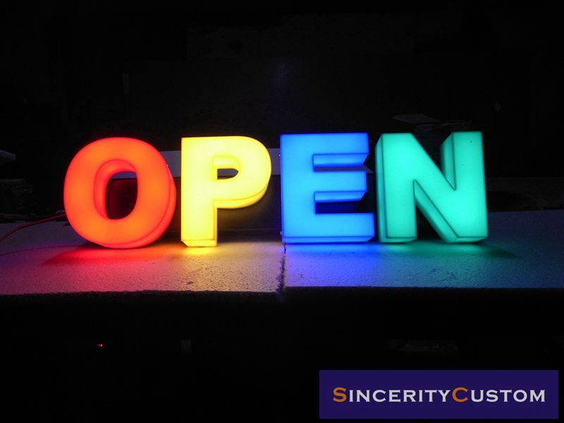 Open Led Sign Letters Lighting Signboard Advertising