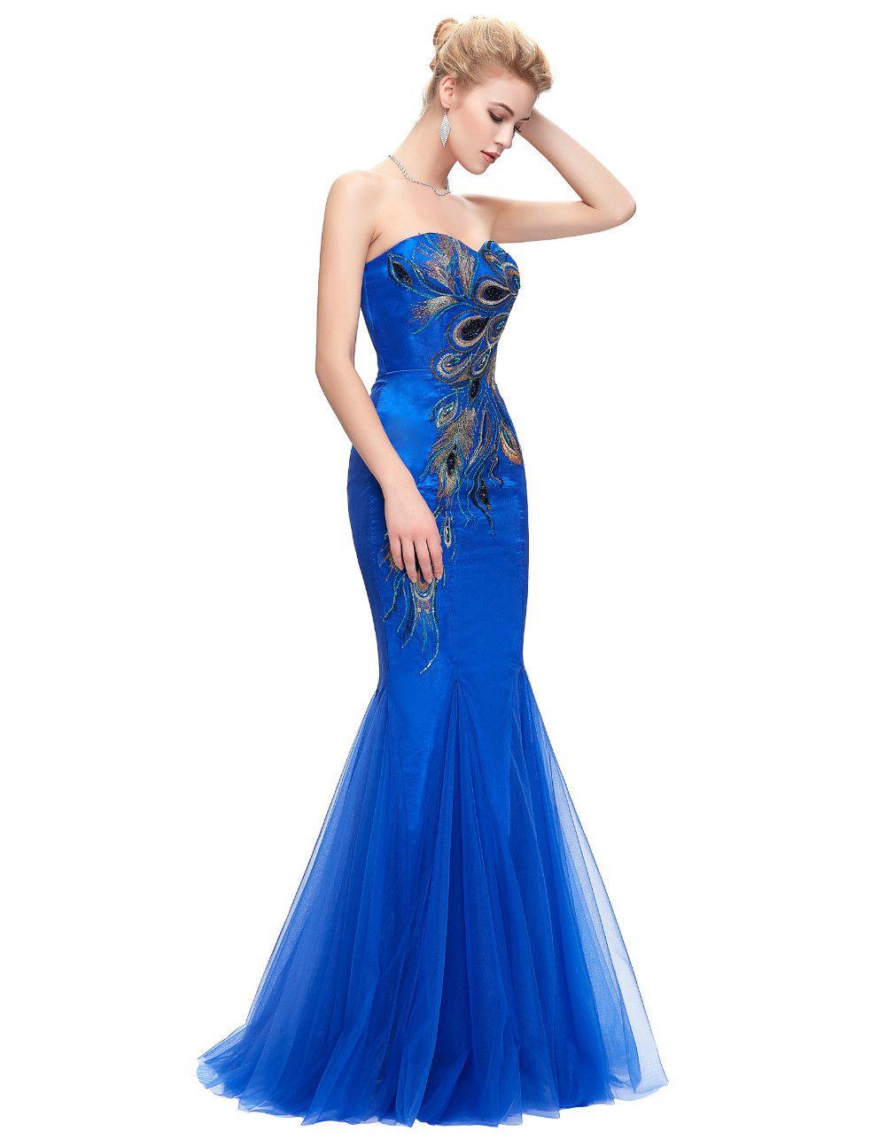 Elegant peacock strapless long mermaid bridesmaid dress uniqistic