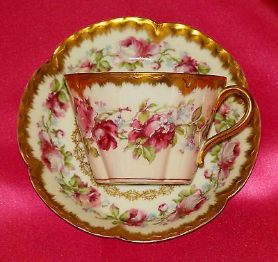 ANTIQ HAVILAND LIMOGES FRANCE TEA CUP SAUCER 257F ENAMELED PINK ROSES FANCY  GOLD