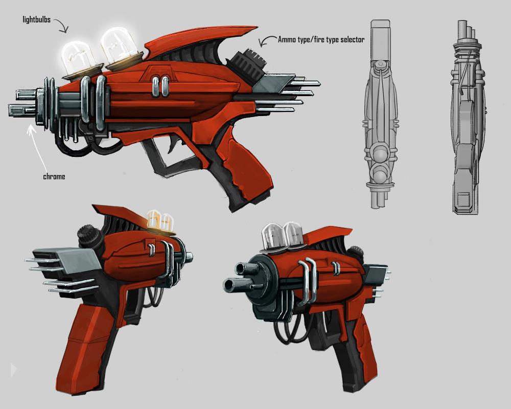 Retro Sci Fi Arena Shooter Raygun Concept By Alex Benge Retro Futurism Raygun Retro
